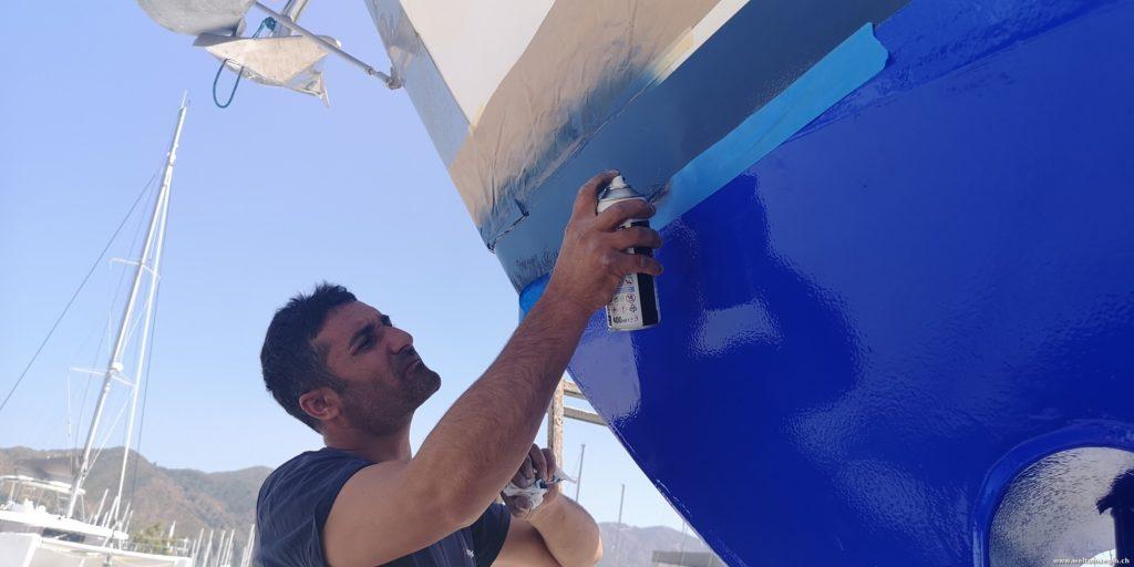 Reparatur blaue Wasserlinie